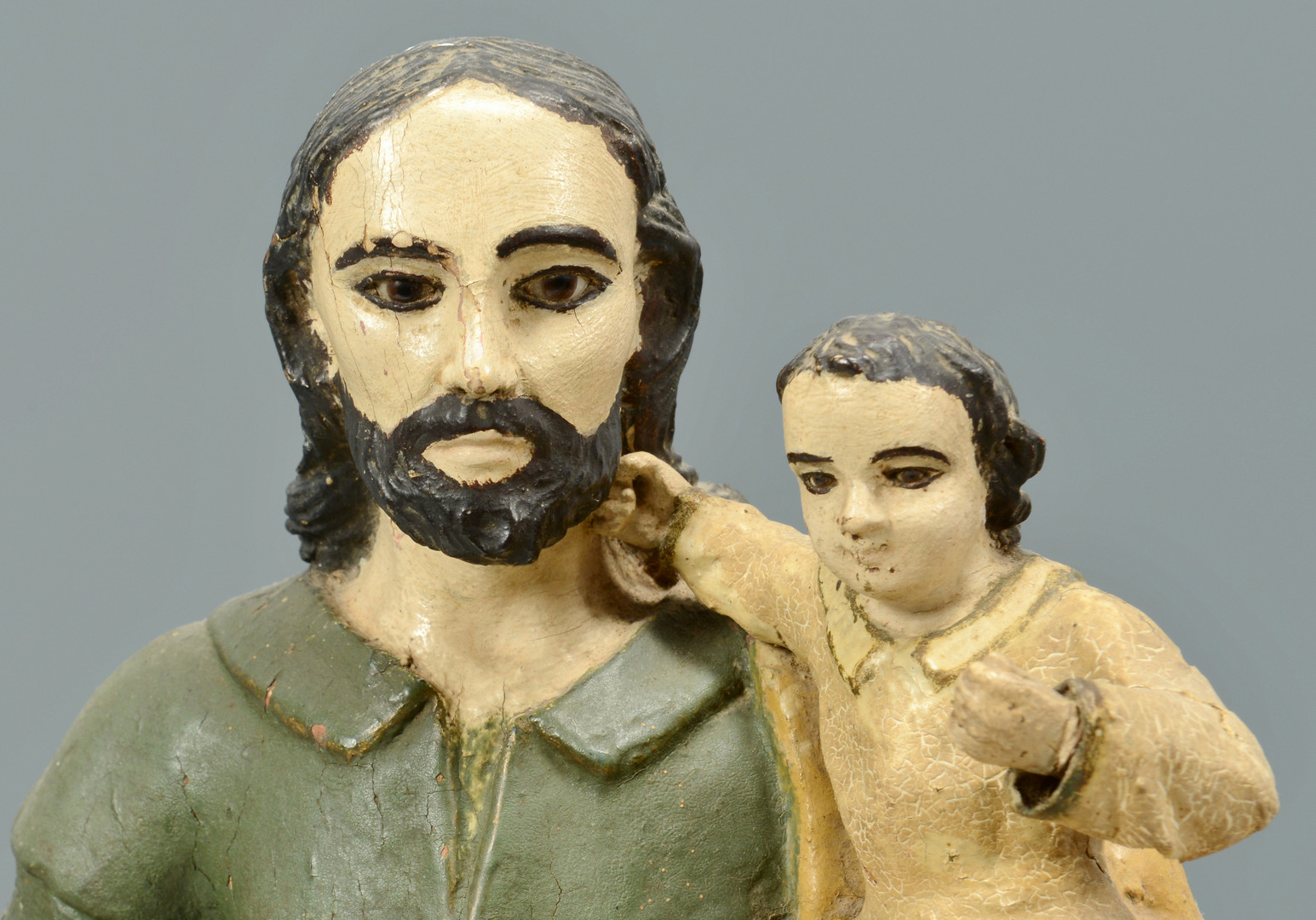 Lot 376: Carved & Painted Santos of Christ w/ Child