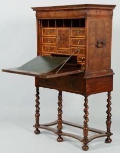 Lot 379: Oyster Burl Desk on Frame