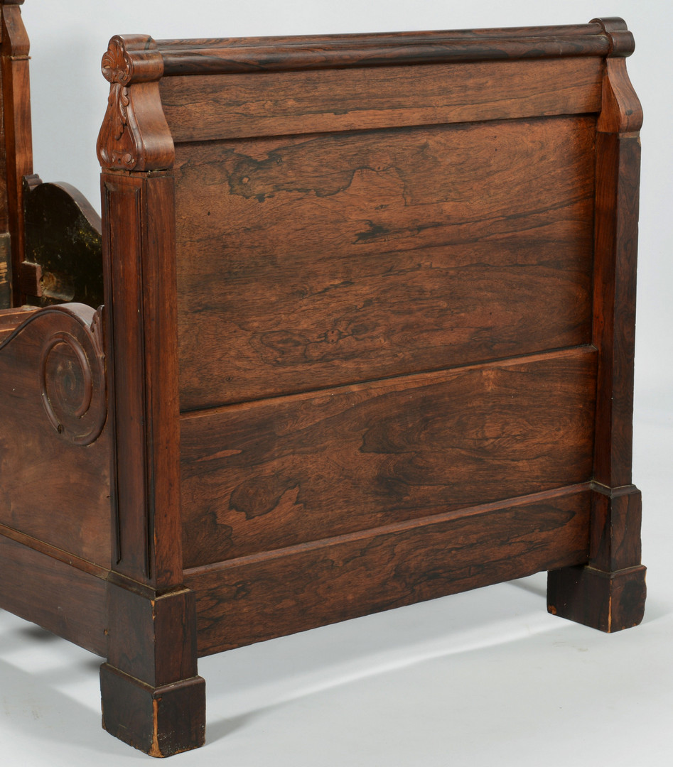 Lot 386: Gothic Rosewood Sleigh Bed, c. 1840