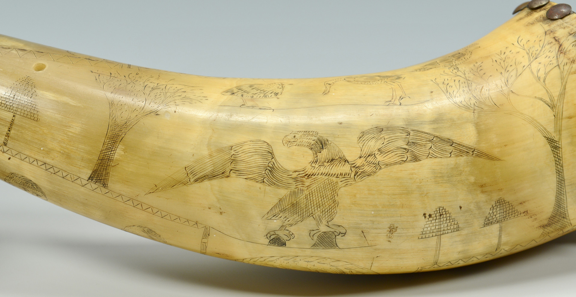 Lot 410: Powder Horn, Pres. Harrison-related designs and ho