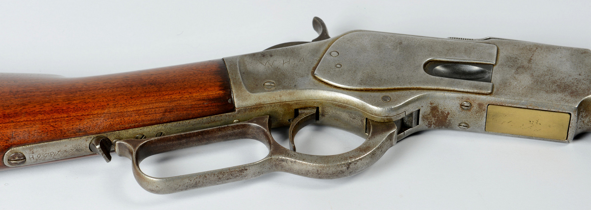 Lot 414: 1873 Winchester Rifle, .32 Cal, nickel finish