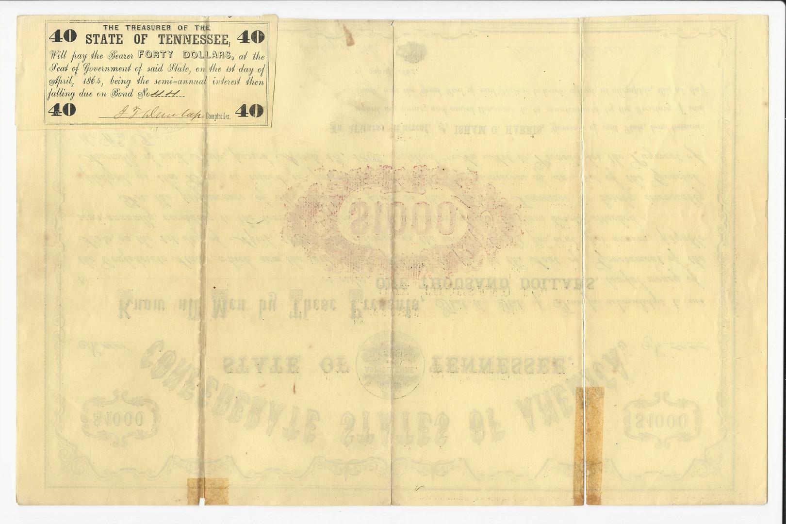 Lot 422: TN Confederate 1862 Bond