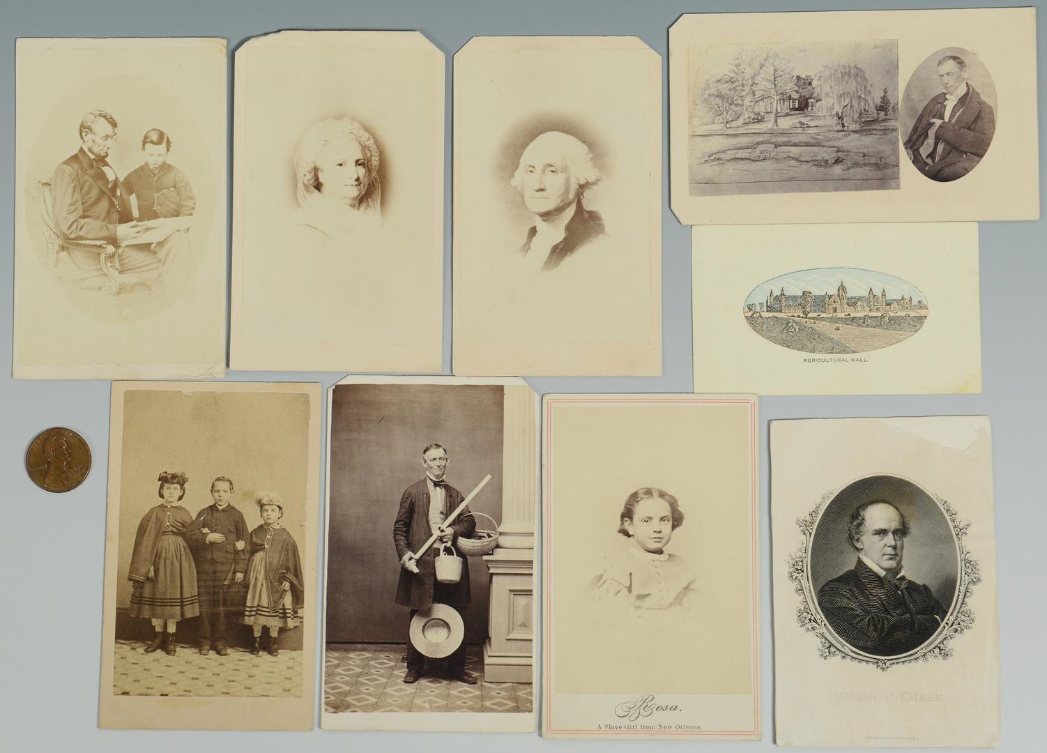 Lot 426: 7 Civil War Era CDVs inc slaves, presidents