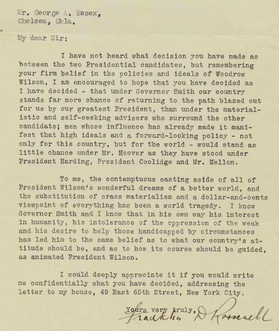 Lot 440: FDR letter, good content