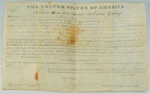 Lot 442: John Q. Adams signed land grant