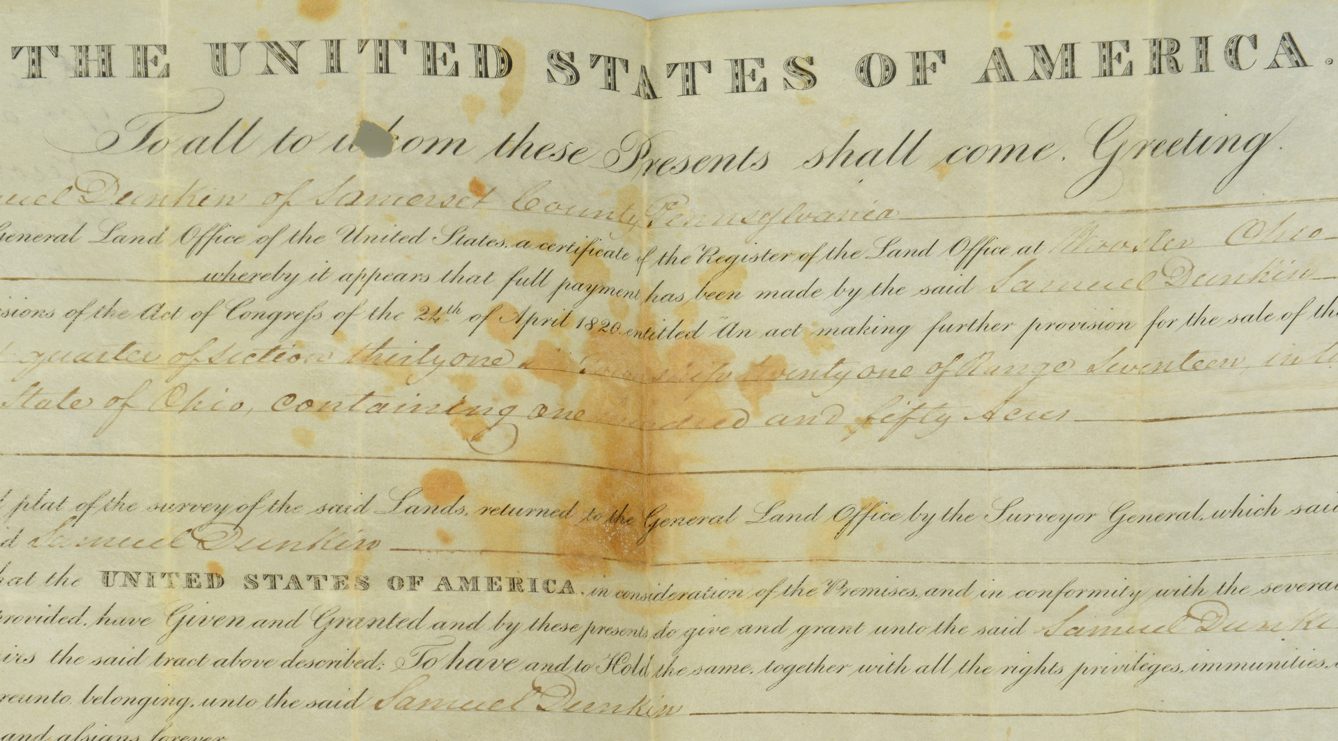 Lot 442: John Q. Adams signed land grant