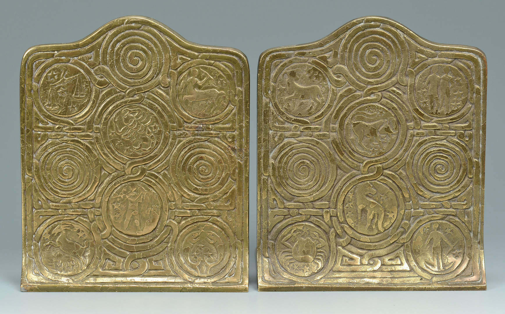 Lot 444: Tiffany Studios Bronze Zodiac Bookends