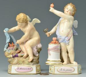 Lot 447: 2 Small Meissen Titled Cherub Figures