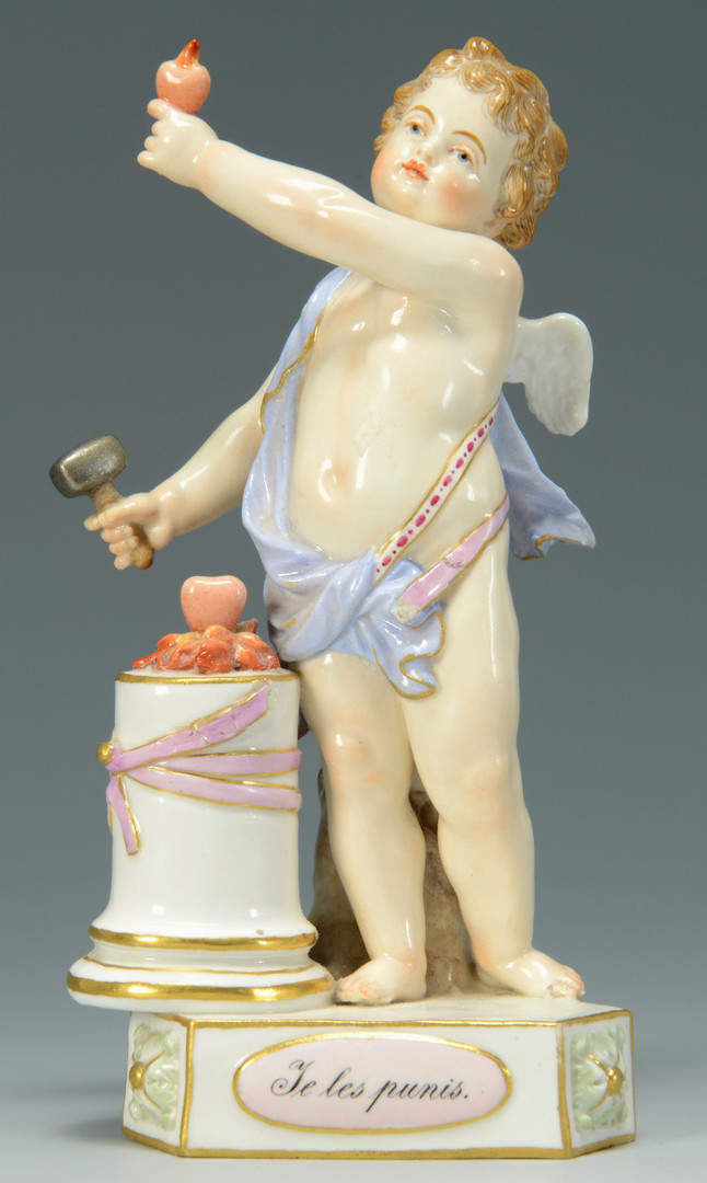 Lot 447: 2 Small Meissen Titled Cherub Figures