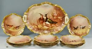 Lot 448: Coiffe, Limoges Porcelain Game Set, signed