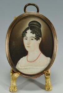 Lot 44: Folk Art Portrait Miniature, American School, 1820