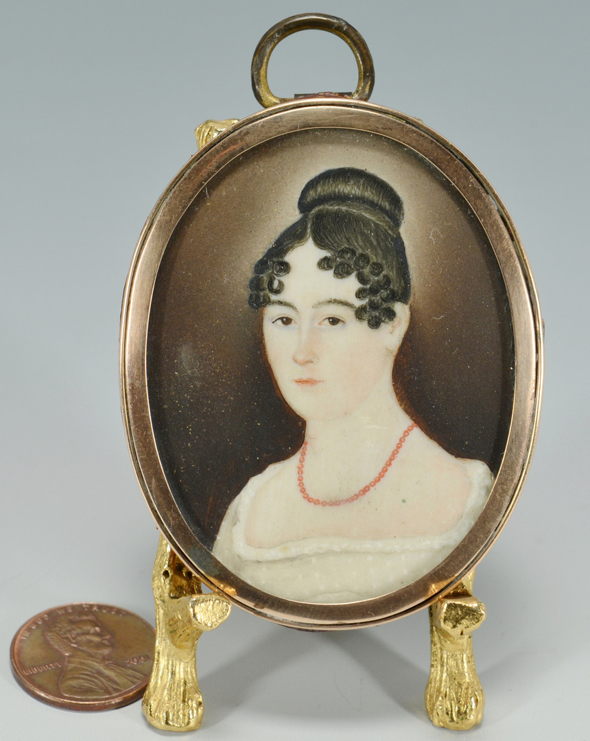 Lot 44: Folk Art Portrait Miniature, American School, 1820