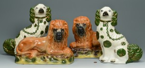 Lot 455: Two Pair Staffordshire (Lions & Spaniels