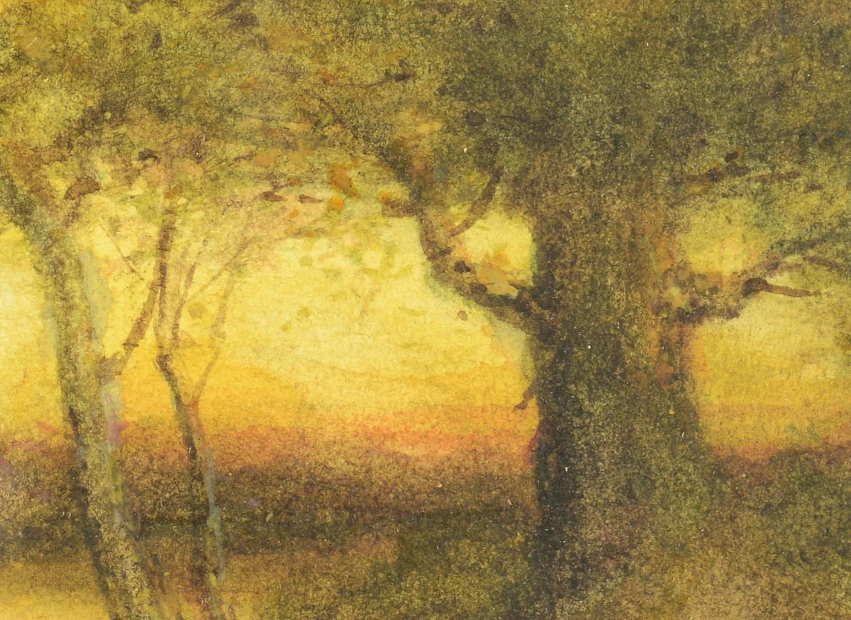 Lot 456: American School pastel, Sunset Landscape