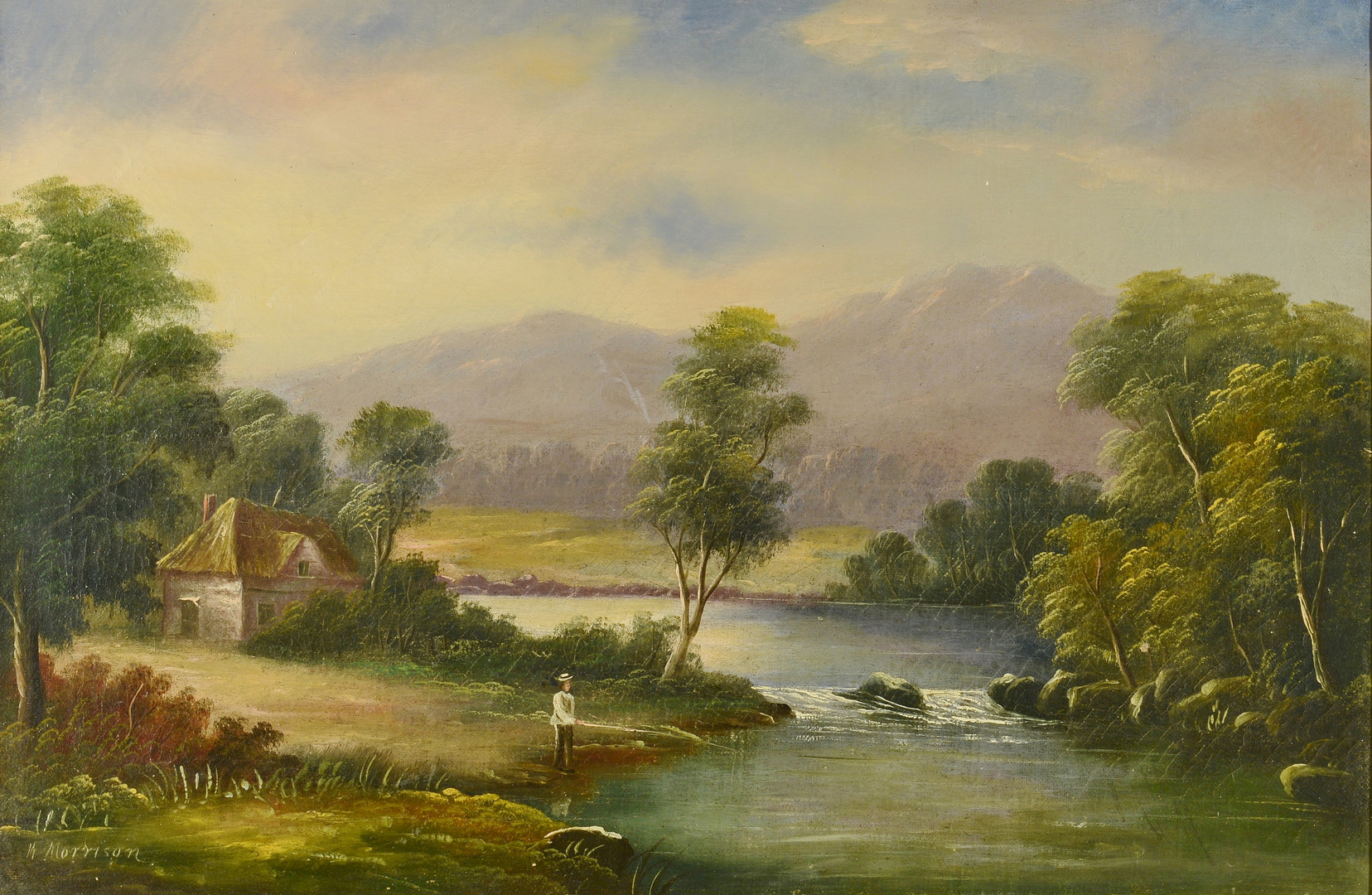 Lot 458: Attr. W. Morrison, landscape oil with fisherman
