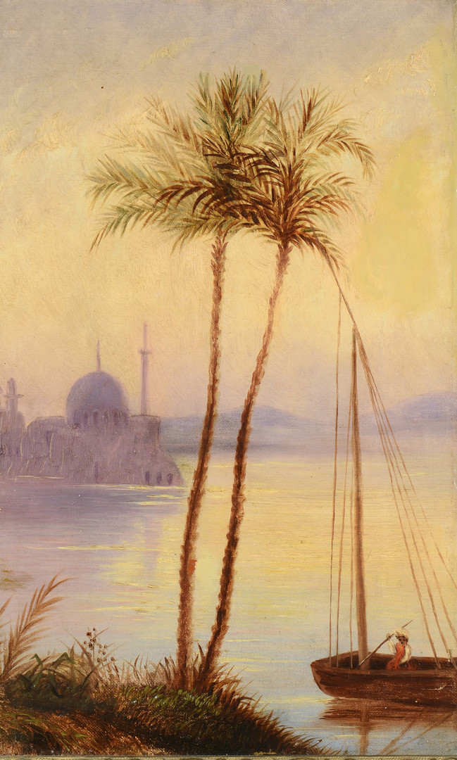 Lot 465: Orientalist o/c with Palm Trees