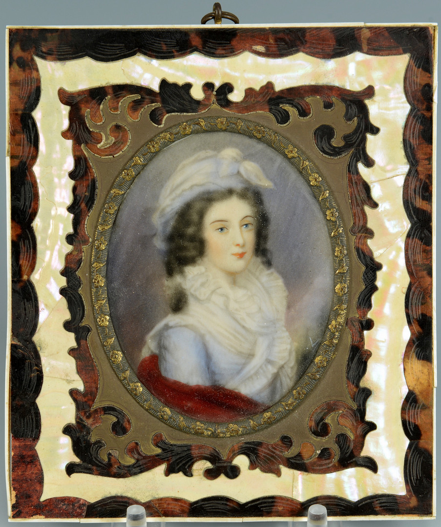 Lot 466: 2 Stevengraphs and 2 Portrait Miniatures