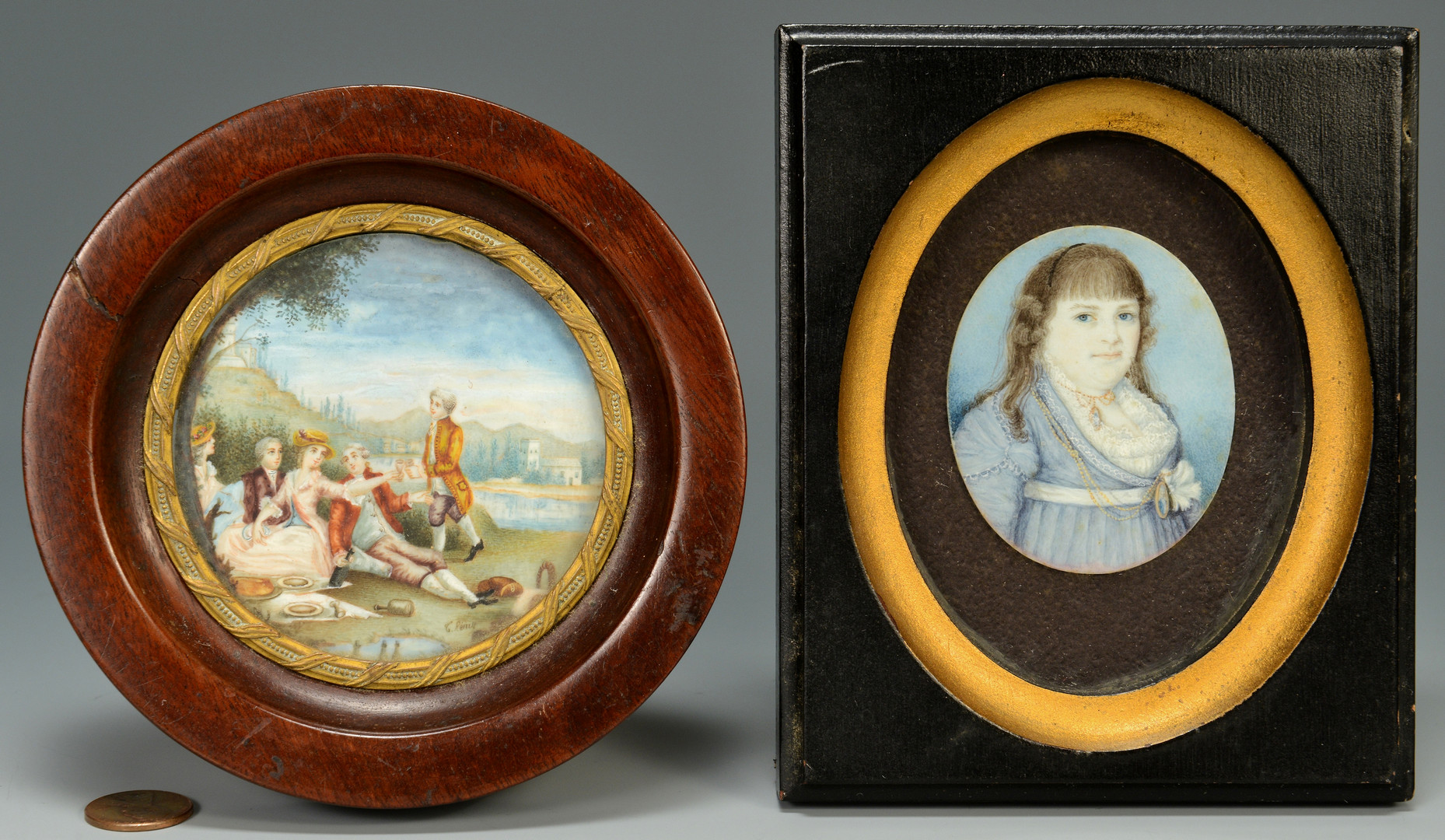 Lot 468: 2 Miniatures, Young Girl & Signed Landscape