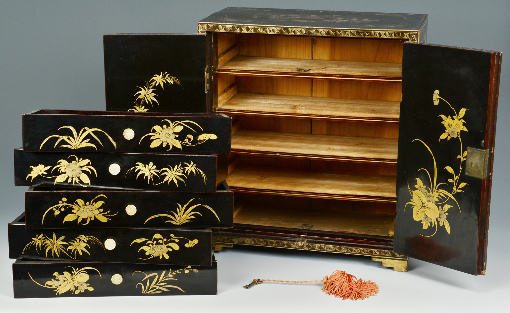 Lot 472: Chinese Export Lacquer Cabinet w/ Court Scenes
