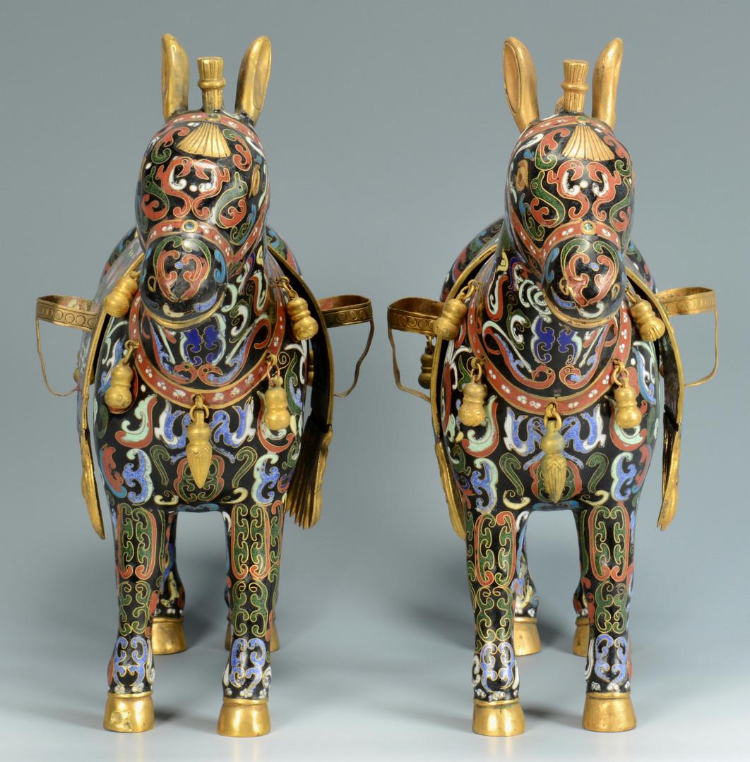 Lot 474: Pair of Cloisonne Horses or Donkeys