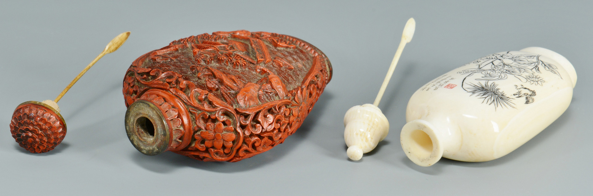 Lot 476: 2 Chinese Snuff Bottles, Cinnabar & Ivory