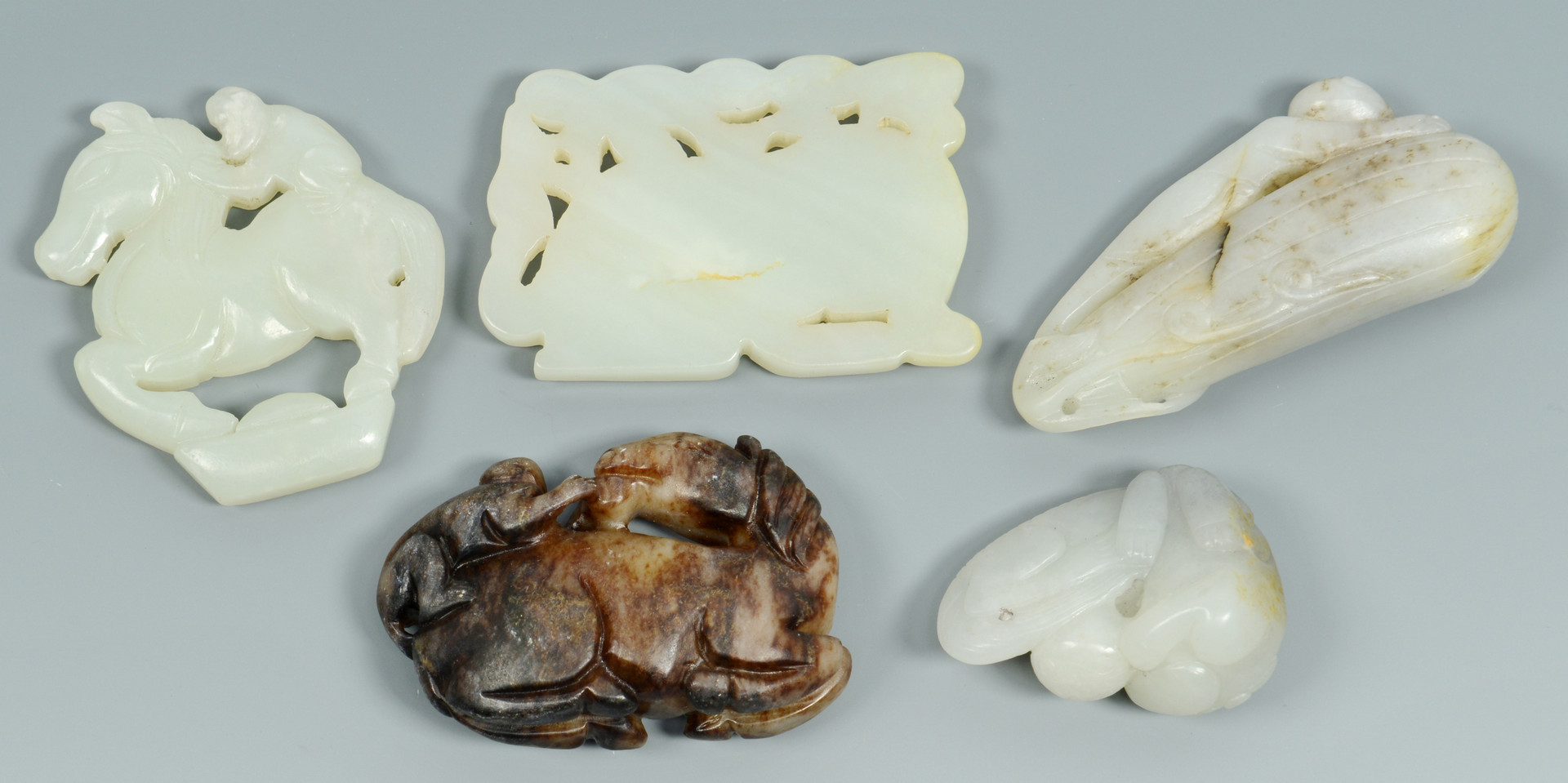 Lot 478: 5 Chinese Carved Jade Animals