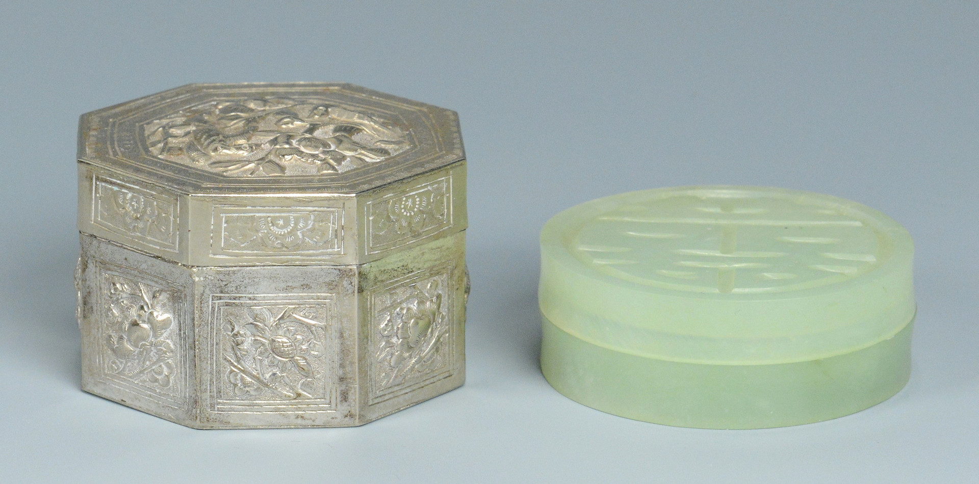 Lot 479: Chinese Silver and Jade Boxes