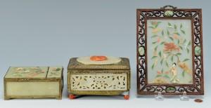 Lot 481: Jade Table Screen & 2 Jade Boxes