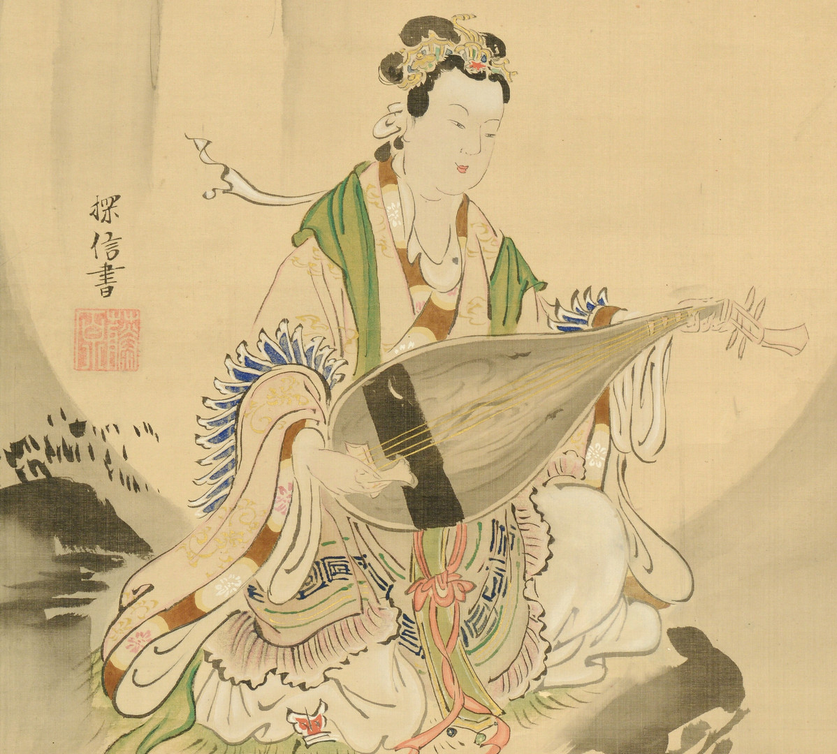 Lot 483: Pair Handpainted Silk Scrolls
