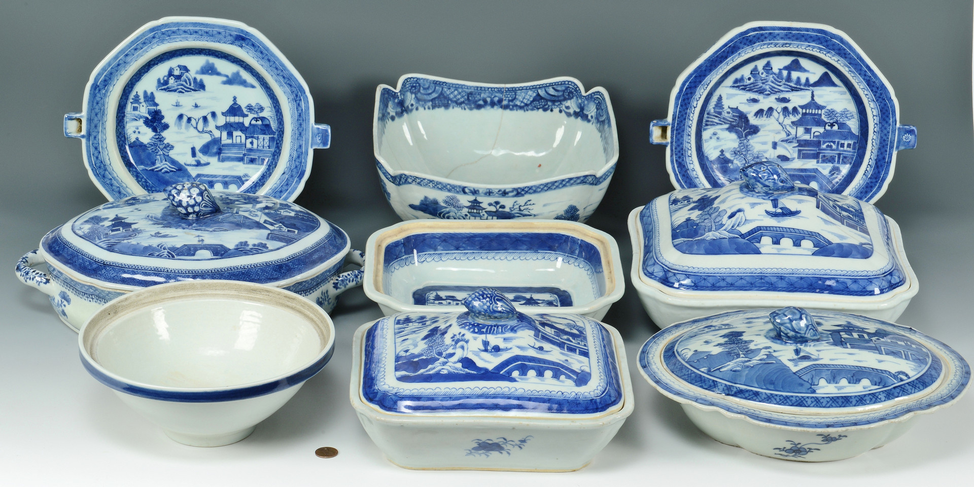 Lot 492: 19th c. Blue/White Canton, 9pcs.