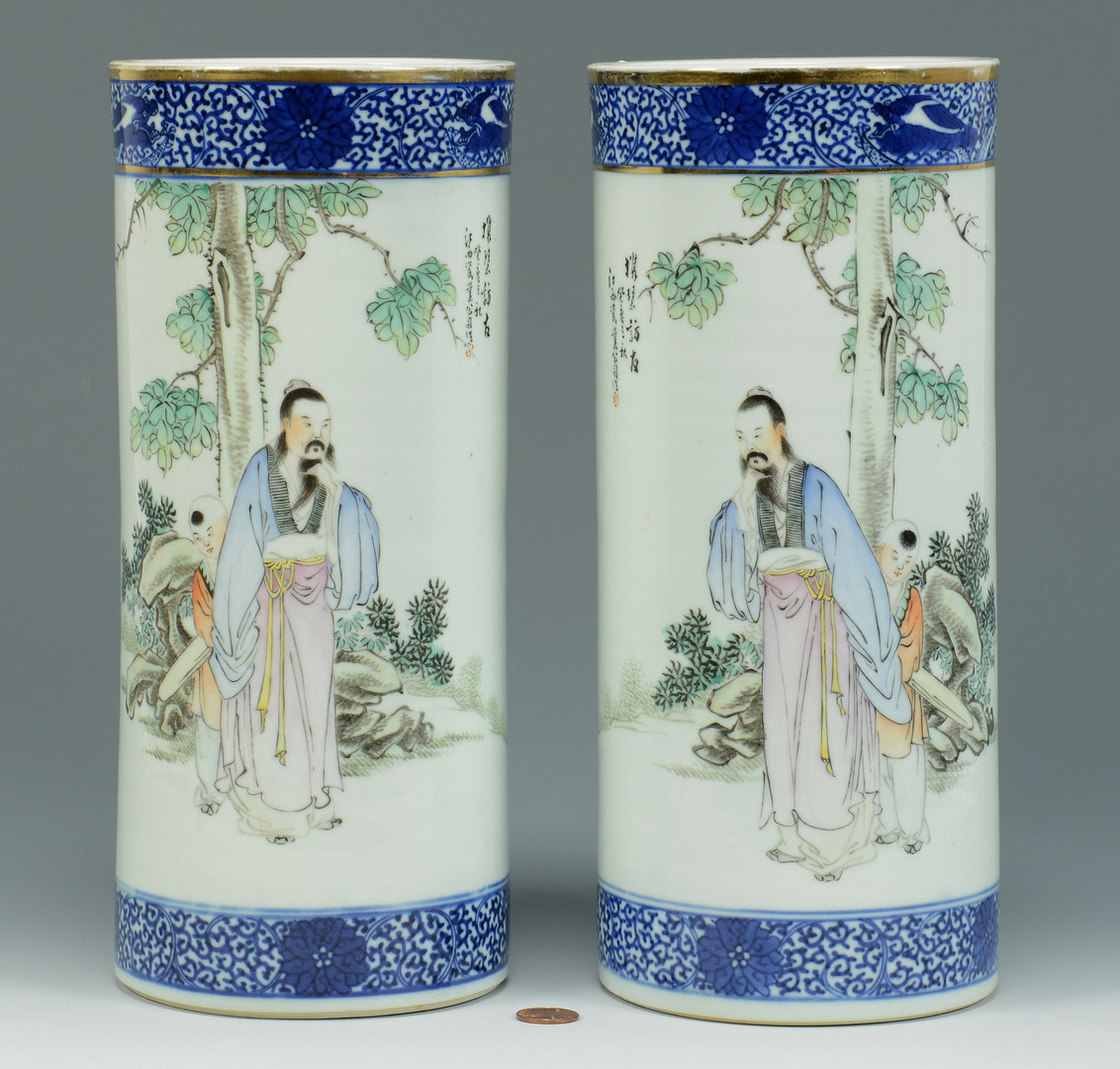 Lot 495: Pair of Chinese Poem Hat Stands