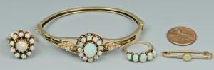 Lot 497: Group of 14k Opal Jewelry, 4 pcs