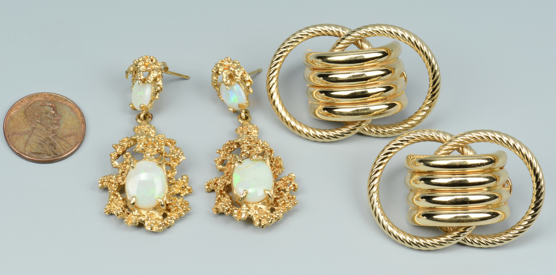 Lot 500: Two Pair 14k Gold Earrings, 1 w/ opals