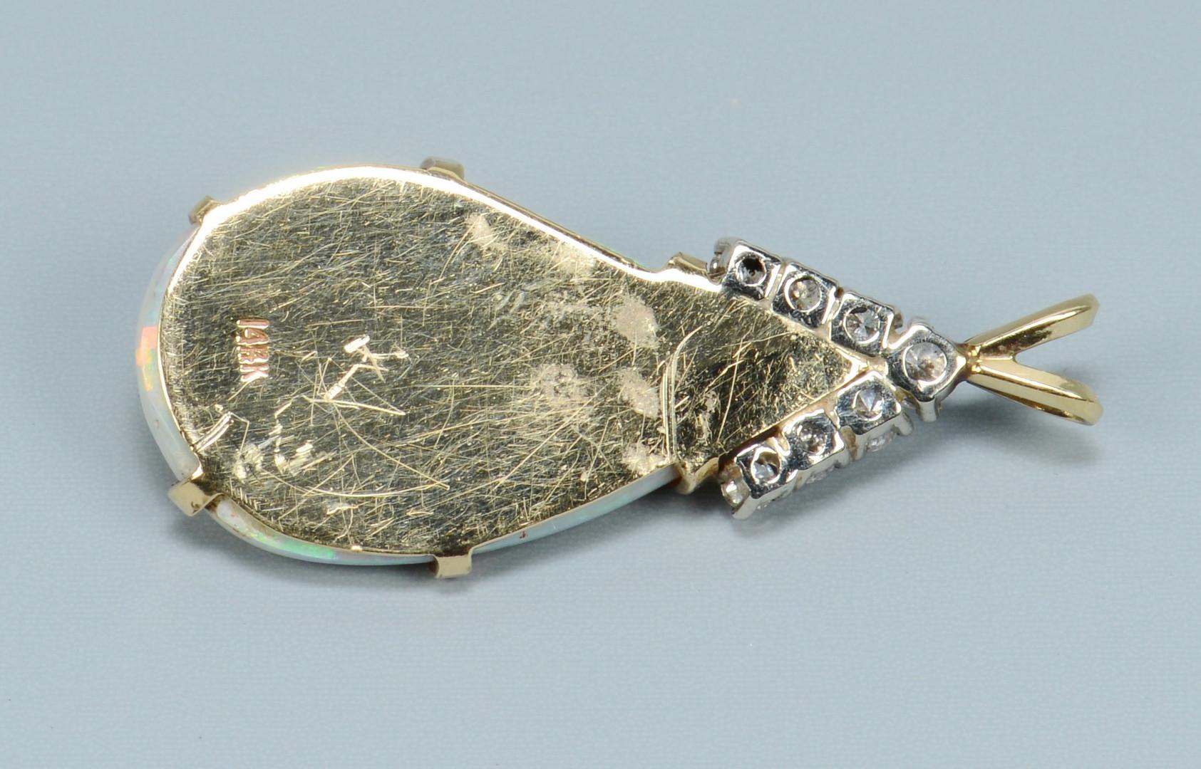 Lot 501: 14k Opal and Diamond Pendant