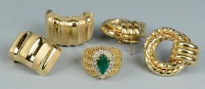 Lot 502: 2 pr 14k Gold Earrings & Ring