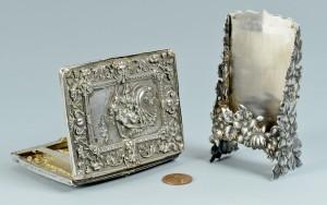 Lot 519: Shiebler & Figural Card Holders