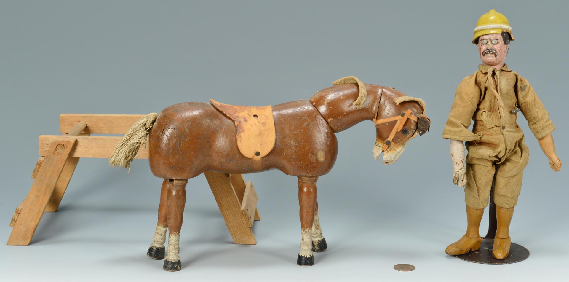 Lot 523: Schoenhut Teddy Roosevelt Safari Character w/ Hors