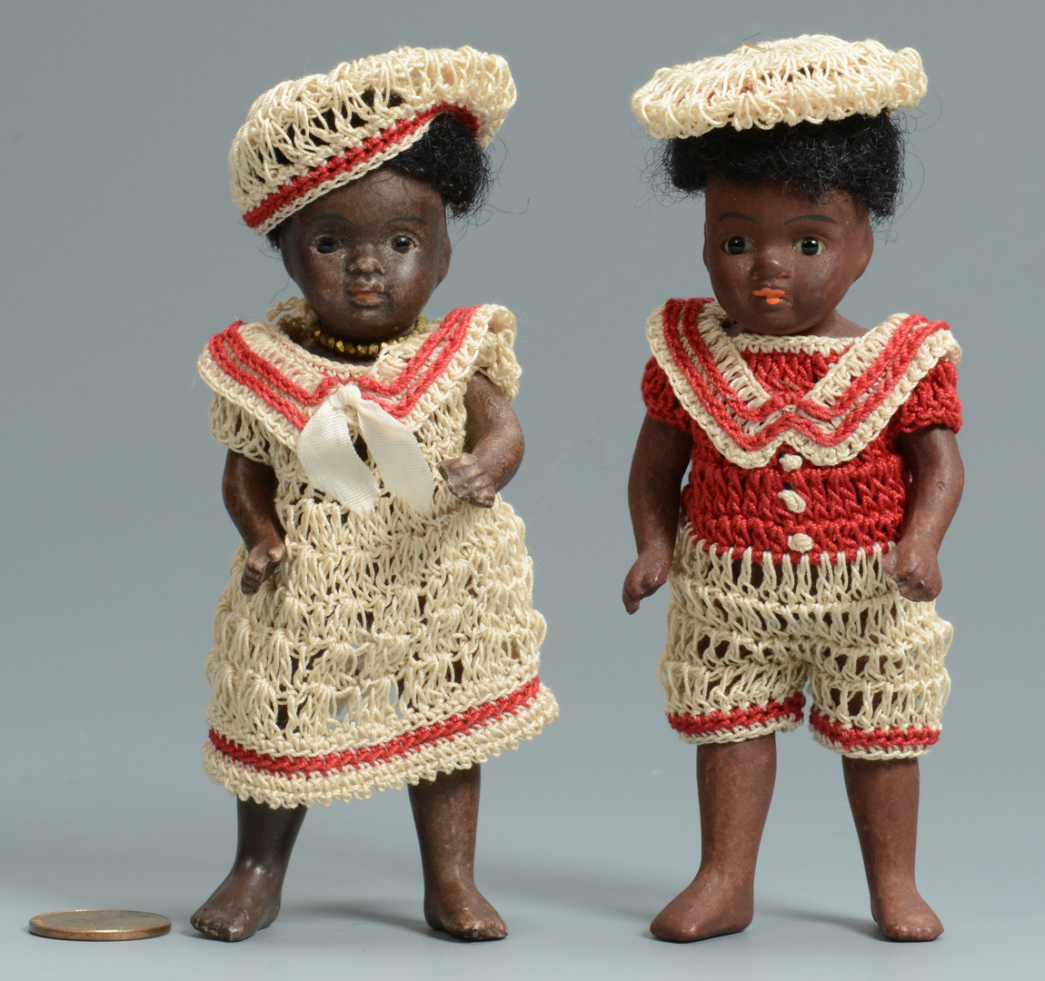 Lot 527: 2 Kestner Black Barefoot Dolls