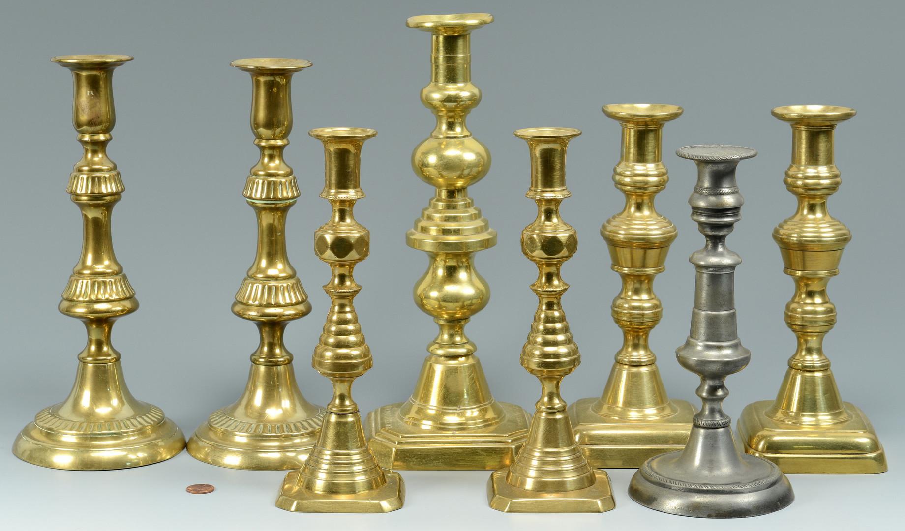 Lot 532: 8 Brass & Pewter Candlesticks