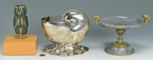 Lot 533: 3 Decorative Items: Shell, compote & sculpture