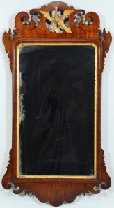 Lot 537: Mahogany Chippendale Mirror w/ eagle