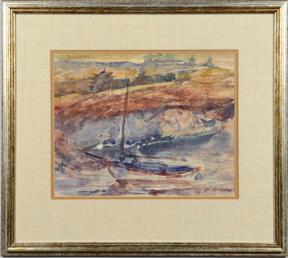 Lot 53: 2 Carl Sublett Watercolors, Coastal landscapes