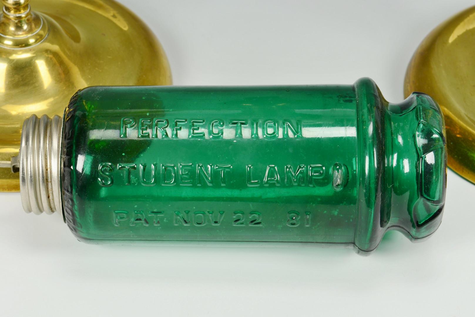 Lot 549: Pr. Kerosene Brass Student Lamps