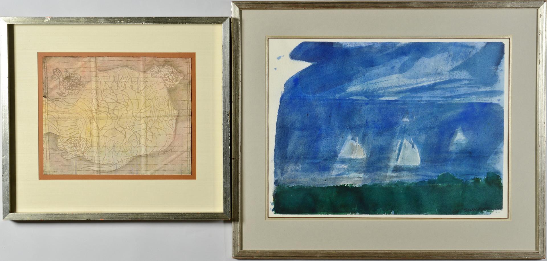 Lot 54: 2 Carl Sublett Watercolors inc. Kite Theme