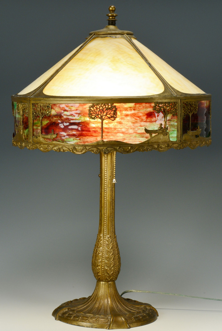 Lot 551: American Slag Glass Lamp