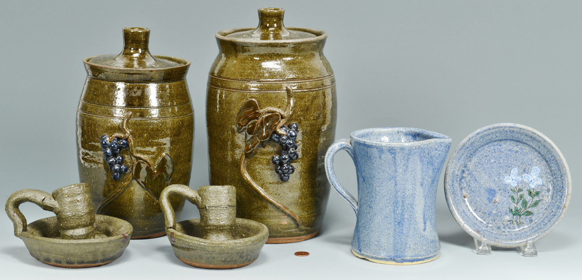 Lot 566: 6 pcs David & Lanier Meaders Pottery, 6 pcs.