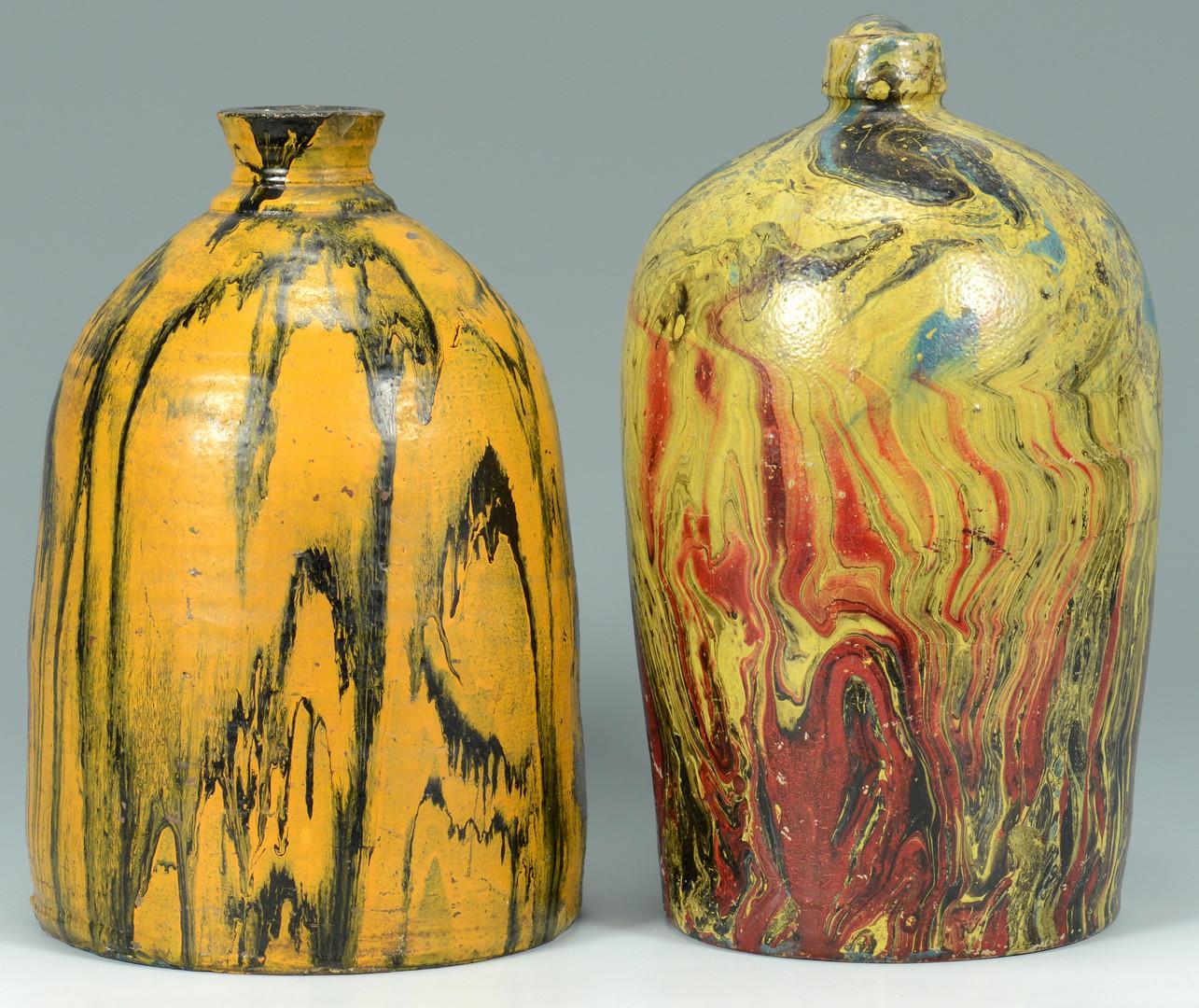 Lot 567: 3 Southern Paint Swirl Pottery Jars
