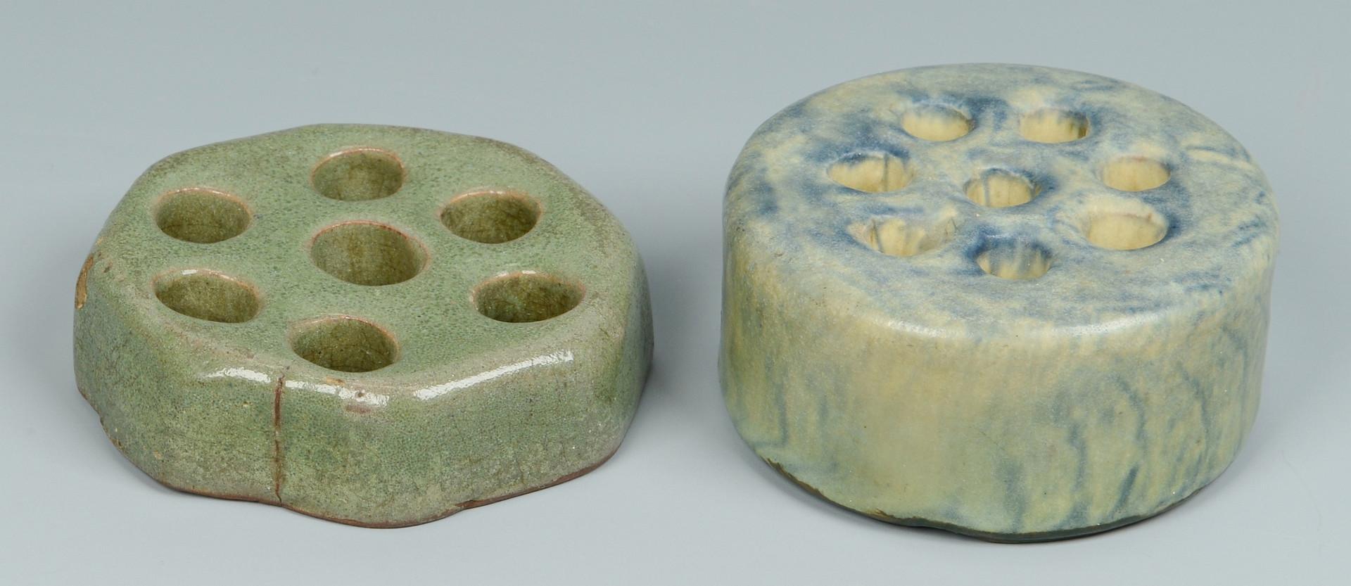 Lot 576: 6 Art Pottery Flower Frogs inc Revere, Rookwood