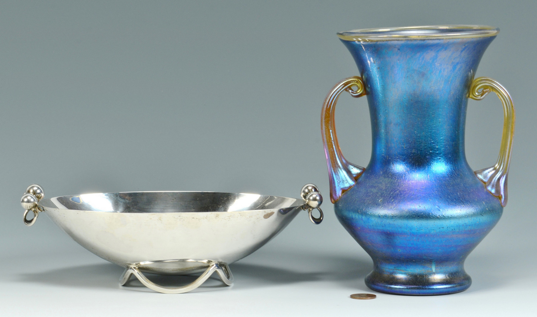 Lot 582: Sciarrotta Silver Bowl & Czech Art Glass Vase