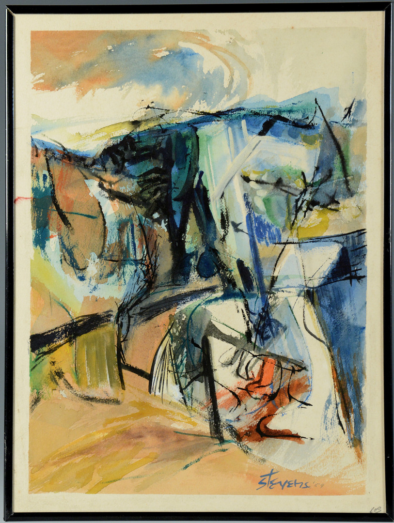 Lot 586: Walter Hollis Stevens Abstract Watercolor